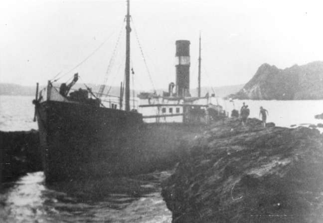 The Betsy Anna hard aground.