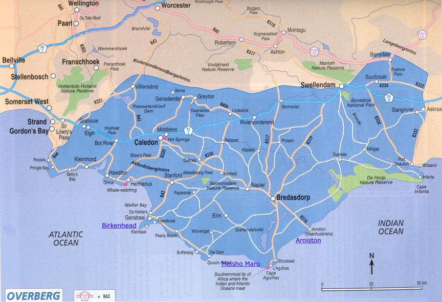 Map of the Overberg.