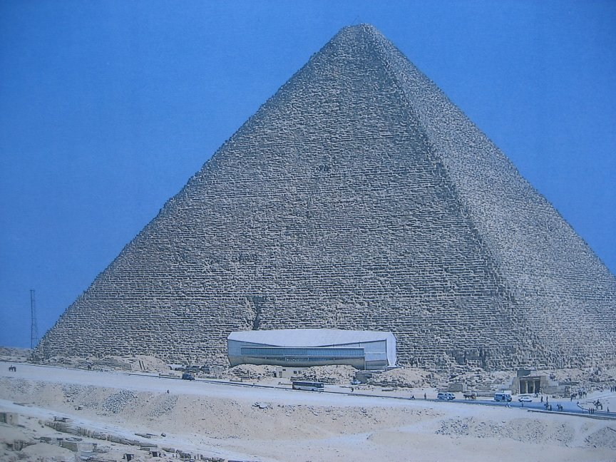 The Great Pyramid with the Sola Boat museum in front.