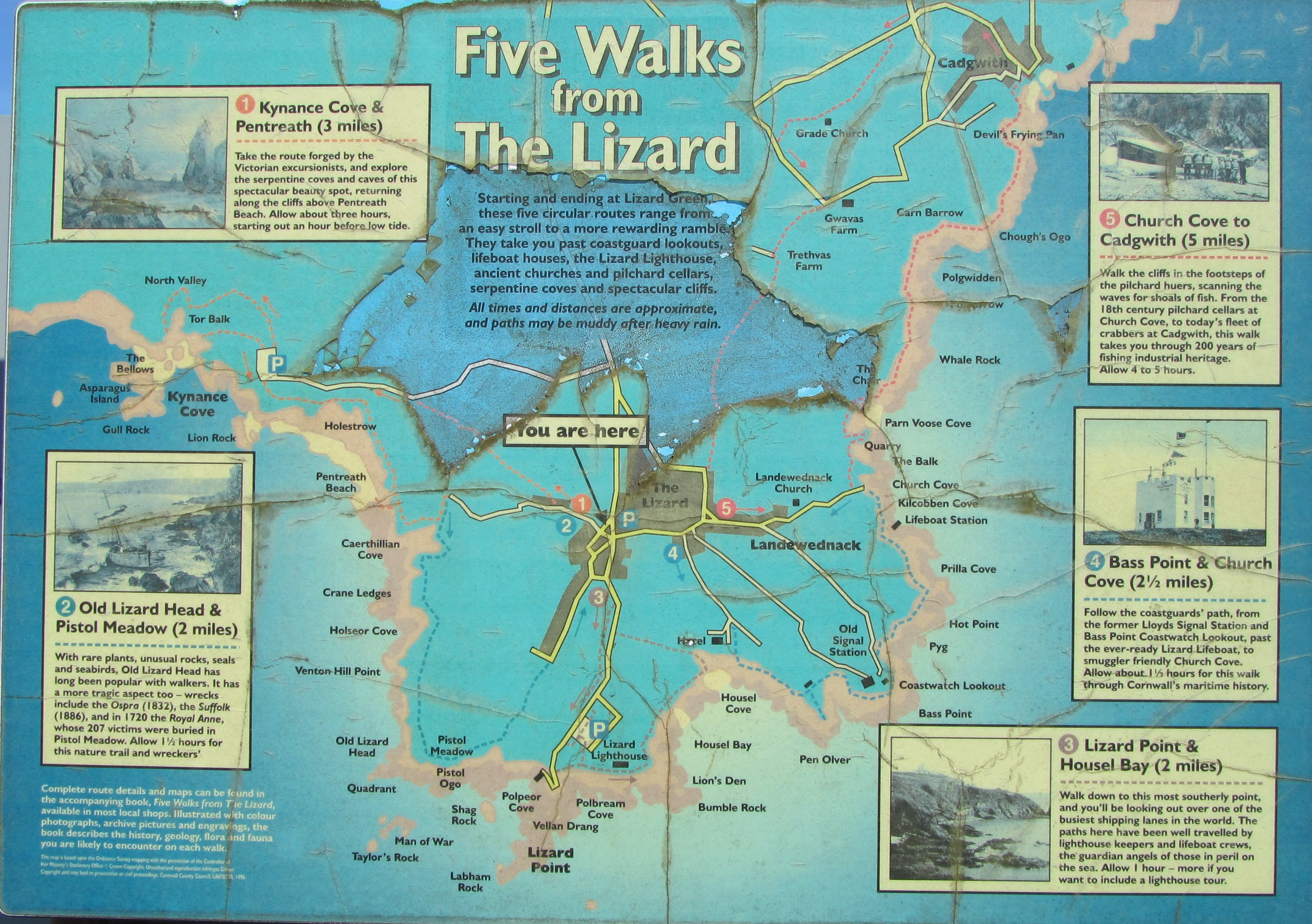 Some of the walks around the Lizard, including Church Cove.