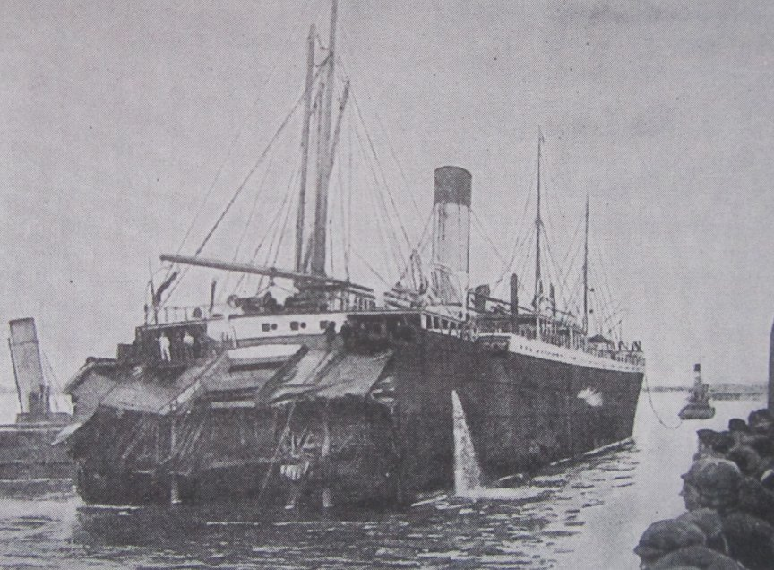 The Stern is towed away.