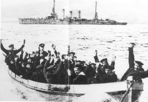 Sailors from the S.S. Nurenburg surrendering to the British.