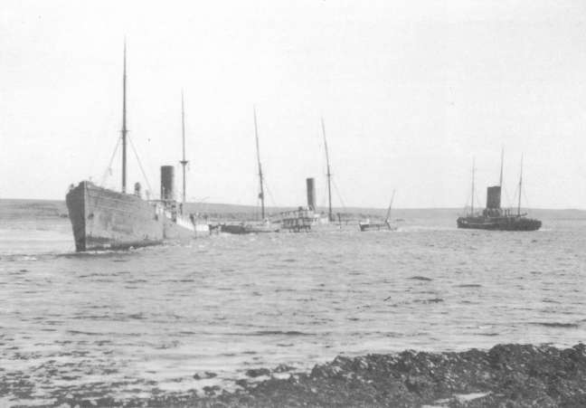 Block ships in Holm Sound. The Thames is on the right.