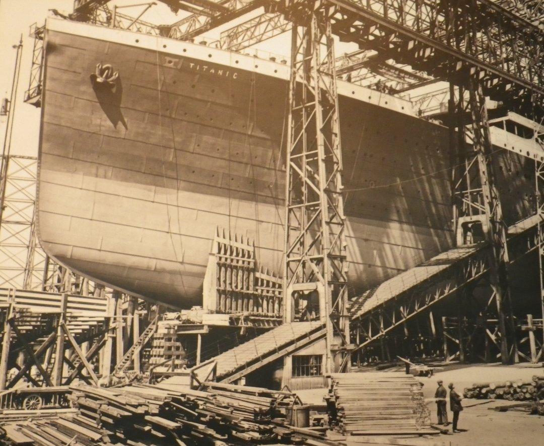 Titanic prior to launch.