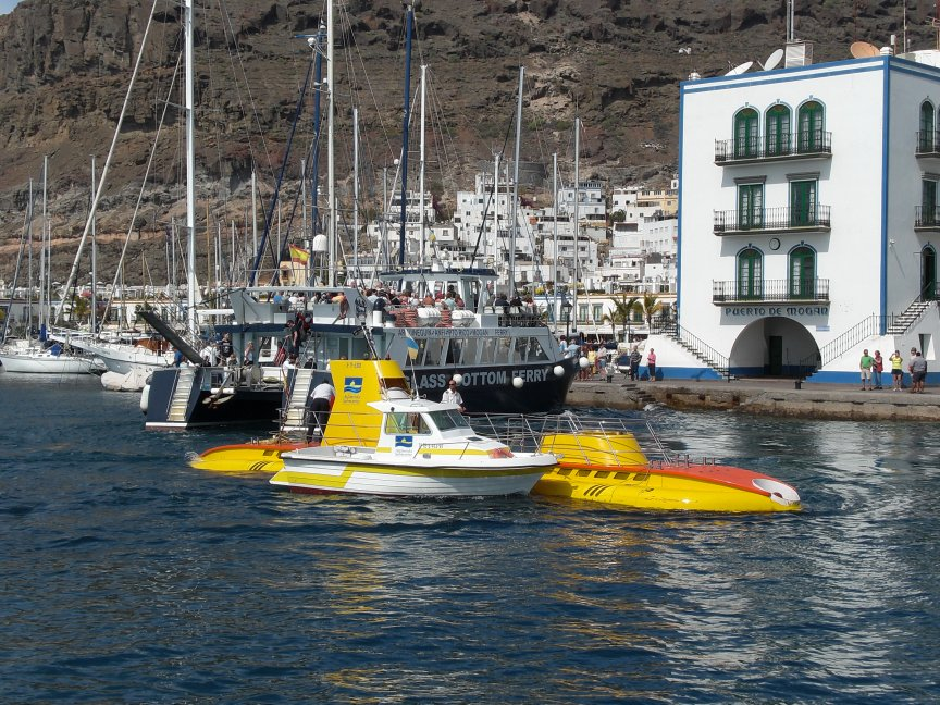 The Yellow Sub and safety boat.