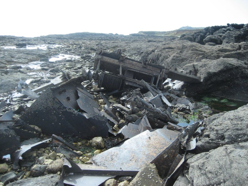 The main part of the wreckage including the winch.